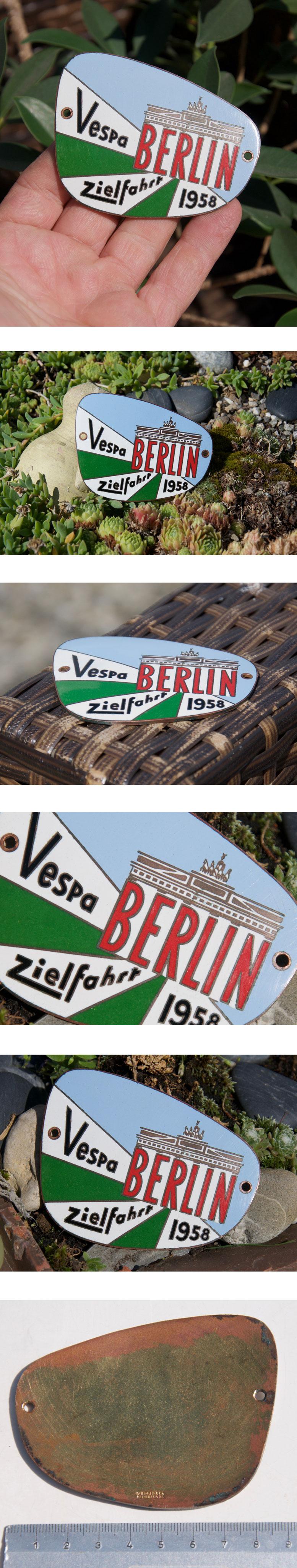 sch ne alte emaille auto motorroller plakette vespa club zielfahrt berlin 1958 ebay. Black Bedroom Furniture Sets. Home Design Ideas
